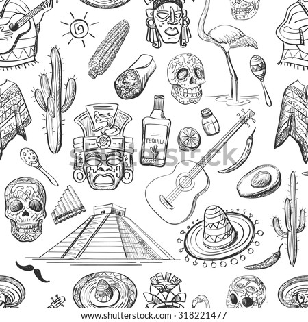 Mexican seamless pattern-guitar, sombrero, tequila, taco, skull, aztec mask, music instruments. Isolated national elements made in vector. - stock vector