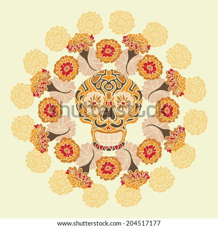 Mexican skull - calavera, surrounded by a circle of marigold flowers.  - stock vector
