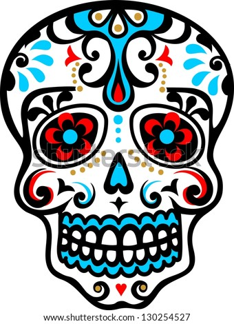 mexican skull - flower ornament - el dia de los muertos - day of the dead - vector image - stock vector