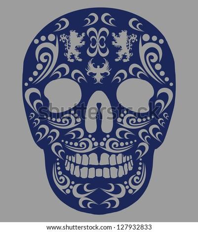 mexican skull vector art - stock vector