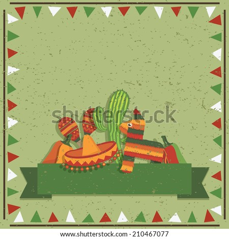 mexican styled frame with decorations and ribbon for your text, with transparencies - stock vector