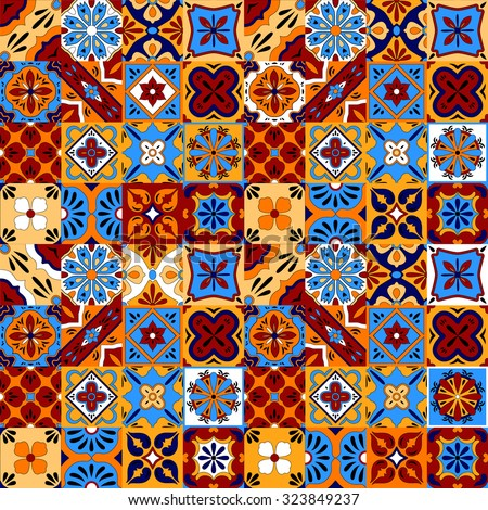 Mexican stylized talavera tiles seamless pattern in blue red and yellow, vector - stock vector