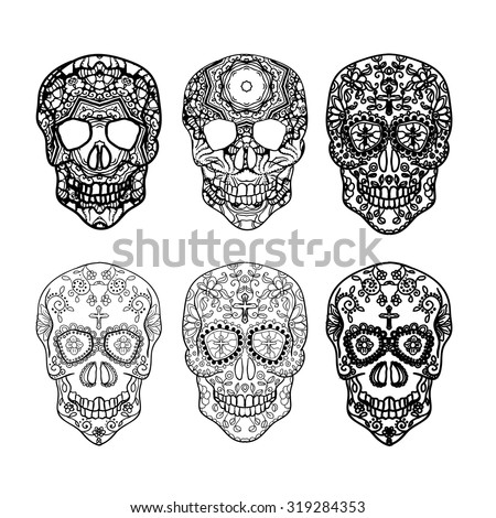 Mexican sugar skull set for the Day Of The Dead Skull. Vector tribal illustration.Black contour for coloring book page design.  - stock vector