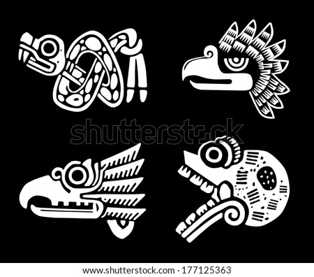 Mexican tribal symbols set. EPS 8 - stock vector
