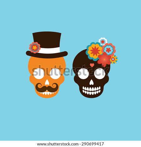 Mexican wedding invitation with two cute hipster skulls - stock vector