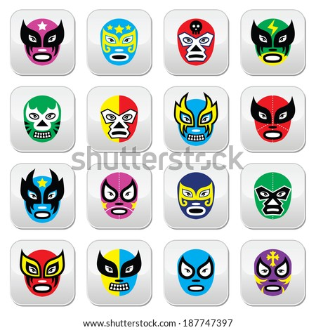 Mexican wrestling masks buttons  - stock vector