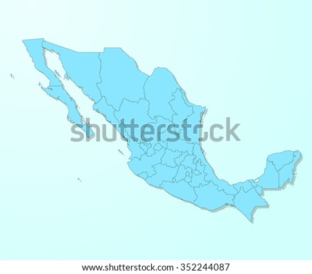 Mexico blue map on degraded background vector - stock vector