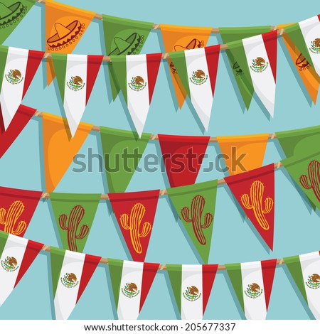 mexico bunting decoration background with flags, with clipping path and transparencies - stock vector