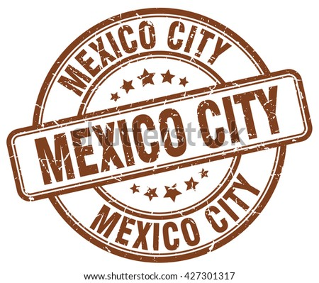 Mexico City brown grunge round vintage rubber stamp.Mexico City stamp.Mexico City round stamp.Mexico City grunge stamp.Mexico City.Mexico City vintage stamp. - stock vector