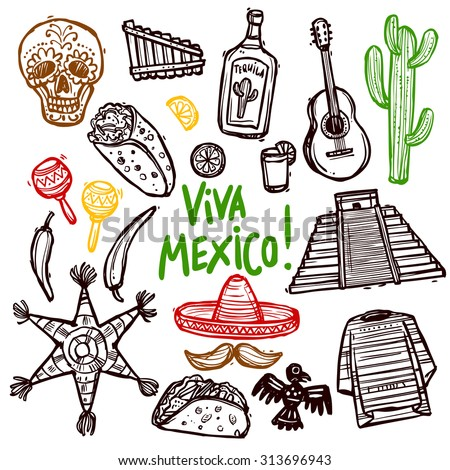 Mexico doodle icons set with hand drawn food and culture symbols isolated vector illustration - stock vector