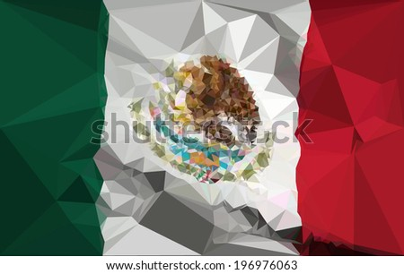Mexico Flag - Polygonal. - stock vector