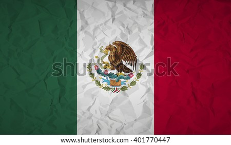 Mexico  flag with the effect of crumpled paper - stock vector