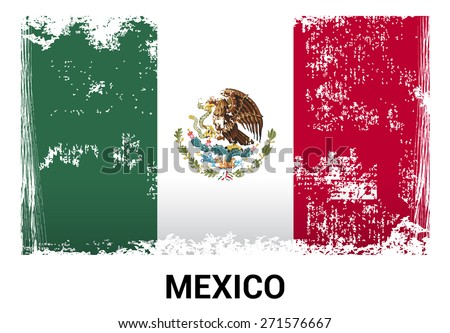 Mexico grunge flag isolated vector in official colors and Proportion Correctly. country's name label in bottom - stock vector