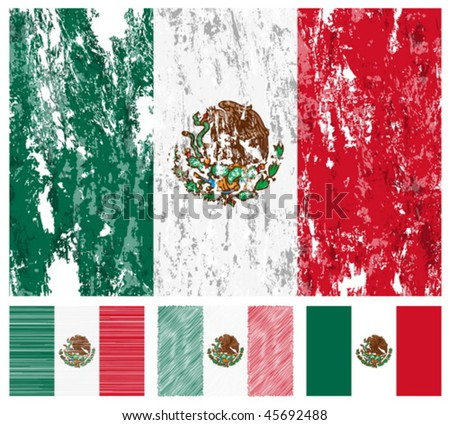 Mexico grunge flag set on a white background. Vector illustration. - stock vector