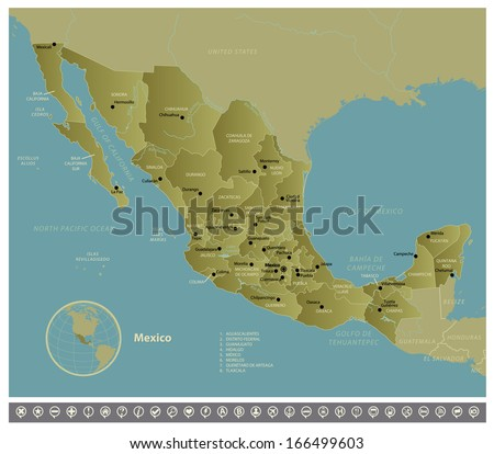 Mexico. High detailed vector map of Mexico with navigation icons. The colors in the *.eps-files are ready for print (CMYK) and fully editable. Included files: EPS (v10) and Hi-Res JPG. - stock vector