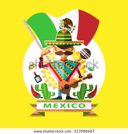 Mexico Independence Day Illustration Of Mexican Man Mariachi Salute To Mexico National Flag With Background Of Mexican Iconic Culture  - stock vector