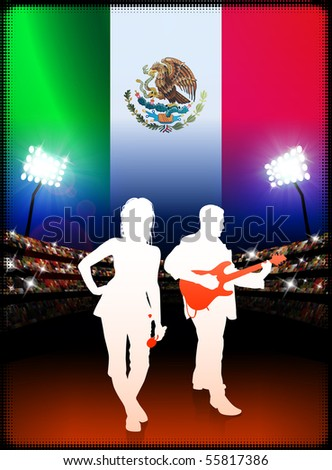 Mexico Live Music Band on Stadium Concert Background with Flag Original Illustration - stock vector