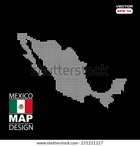 Mexico map flag halftone dots effect in vector format - stock vector