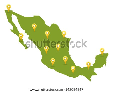 Mexico map in green color with pins - stock vector
