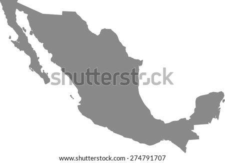 Mexico map outlines in grey background for designing brochure template, advertising design for tourist map, and web-page template or construction - stock vector