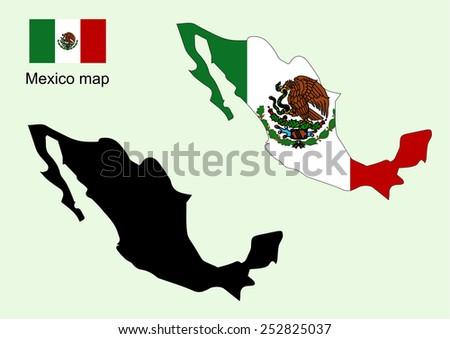 Mexico map vector, Mexico flag vector - stock vector