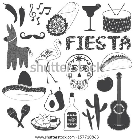 Mexico Party Icons Vector Illustrations Set - stock vector