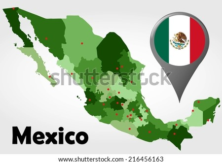 Mexico political map with green shades and map pointer. - stock vector
