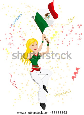 Mexico Soccer Fan with flag. Editable Vector Illustration - stock vector