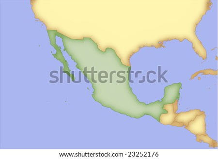 Mexico, vector map, with borders of surrounding countries. 5 named layers, fully editable. - stock vector