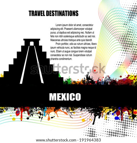 Mexico , vintage travel destination grunge poster with colored splash and space for your text, vector illustration - stock vector