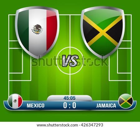 Mexico vs Jamaica Soccer Match : Vector Illustration - stock vector