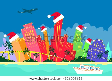 Miami Florida United States Abstract Skyline City Skyscraper Christmas Silhouette New Year Flat Colorful Vector Illustration - stock vector