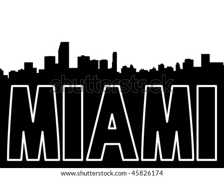 Miami skyline black silhouette on white - stock vector