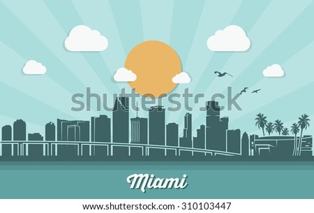 Miami skyline - flat design - vector illustration  - stock vector