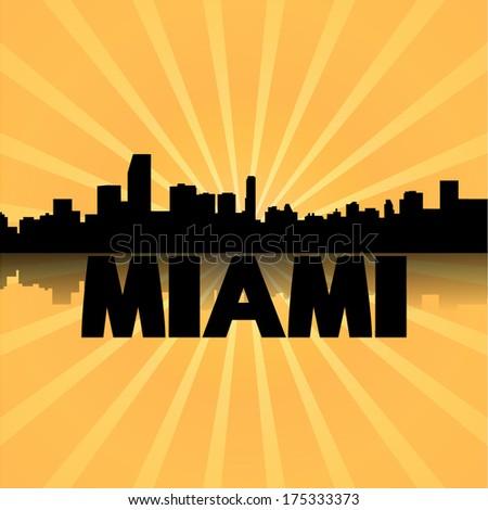 Miami skyline reflected with sunburst illustration  - stock vector