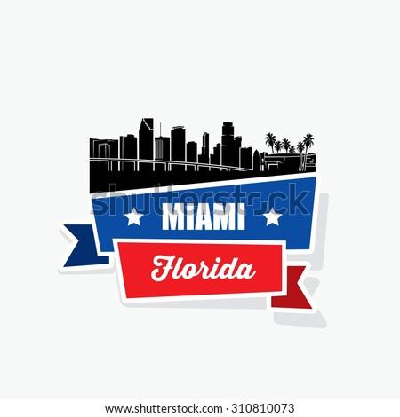 Miami skyline ribbon banner  - vector illustration  - stock vector