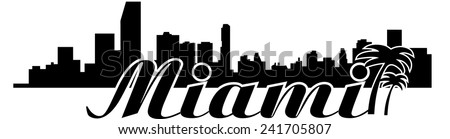 Miami skyline Vector - stock vector
