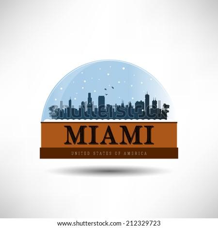 Miami, United States of America city skyline silhouette in snow globe. Vector design. - stock vector