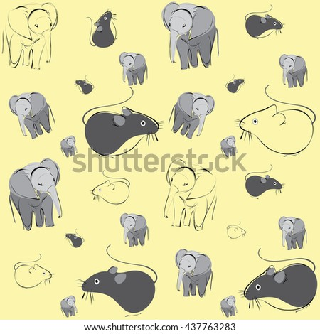 mice and elephants - stock vector