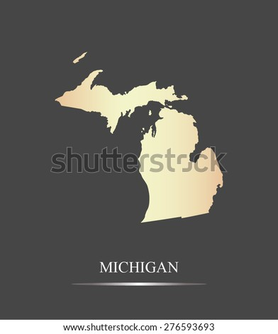 Michigan map outlines in an abstract grey background, a black and white map of State of Michigan in USA - stock vector