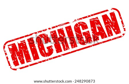 michigan red stamp text on white stock vector. Black Bedroom Furniture Sets. Home Design Ideas