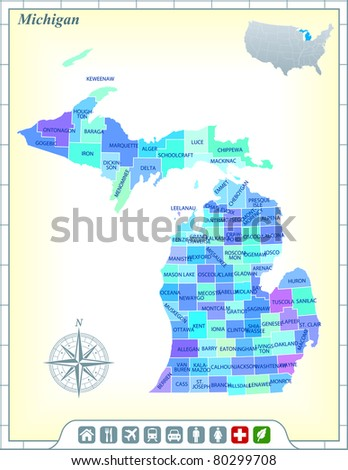 Michigan State Map with Community Assistance and Activates Icons Original Illustration - stock vector