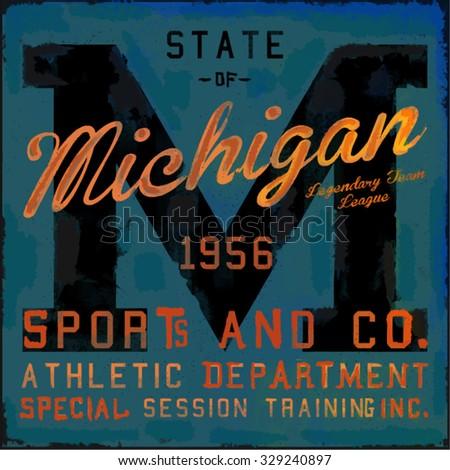 Michigan varsity graphic illustration - stock vector