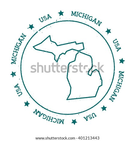 Michigan vector map. Retro vintage insignia with US state map. Distressed visa stamp with Michigan text wrapped around a circle and stars. USA state map vector illustration. - stock vector