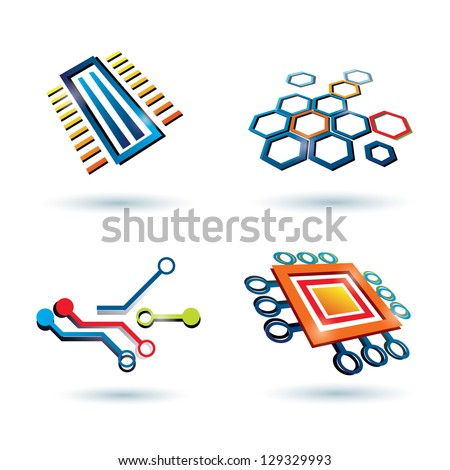 micro scheme, cpu and other elements icons set - stock vector