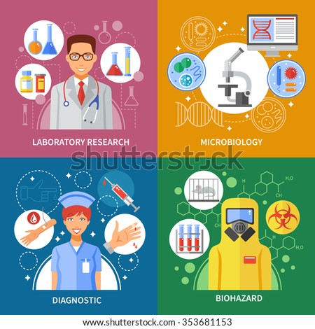 Microbiology concept about laboratory research blood test of biohazard viruses in flat composition isolated vector illustration - stock vector