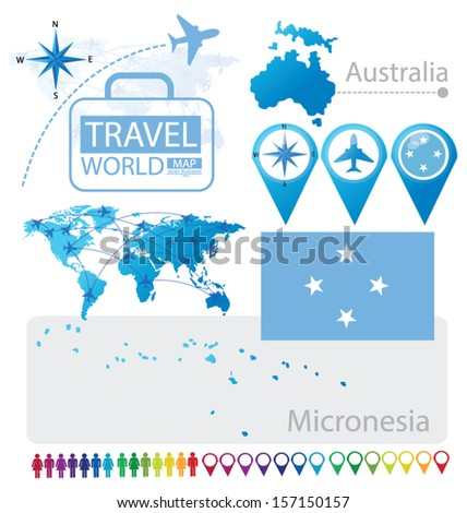 Micronesia. Federated States of Micronesia. Australia. flag. World Map. Travel vector Illustration. - stock vector