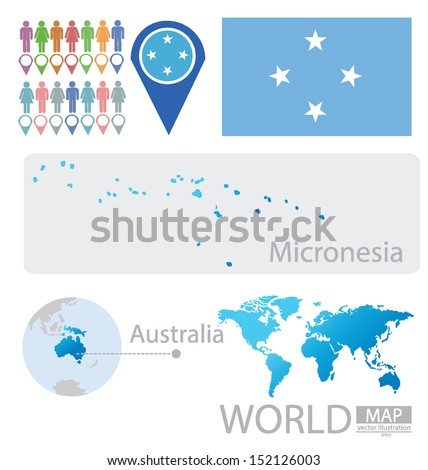 Micronesia. Federated States of Micronesia. Australia. flag. World Map. vector Illustration. - stock vector