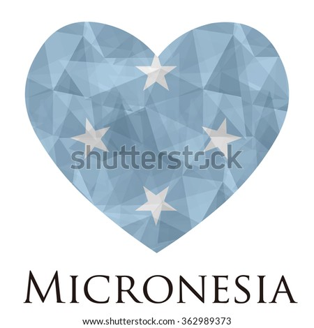 Micronesia flag shape heart in geometric rumpled triangular low poly origami style graphic illustration,mosaic polygonal style.Symbol of love to country.Retro or vintage style background. - stock vector
