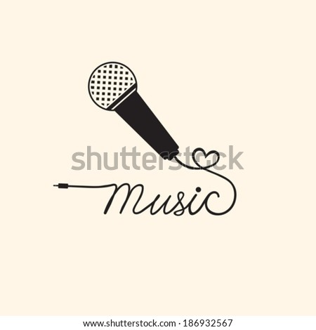 Microphone and music. Vector background.  EPS-10 (non transparent elements,non gradient). - stock vector